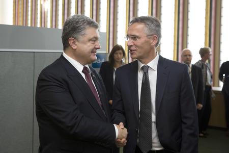 NEW YORK, USA - Sep 21, 2016: President of Ukraine Petro Poroshenko and NATO Secretary General Jens Stoltenberg during a meeting in New York