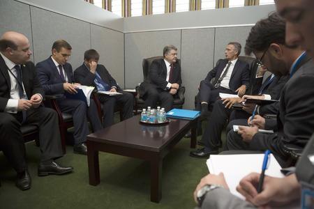 north atlantic treaty organization: NEW YORK, USA - Sep 21, 2016: President of Ukraine Petro Poroshenko and NATO Secretary General Jens Stoltenberg during a meeting in New York