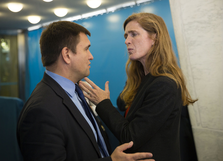 ambassador: NEW YORK, USA - Sep 21, 2016: United States Ambassador to the United Nations Samantha Power and the Minister of Foreign Affairs of Ukraine Pavlo Klimkin during a meeting in New York