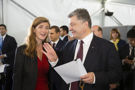 ambassador: NEW YORK, USA - Sep 21, 2016: United States Ambassador to the United Nations Samantha Power and President of Ukraine Petro Poroshenko during a meeting in New York