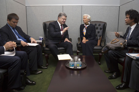 NEW YORK, USA - Sep 21, 2016: President of Ukraine Petro Poroshenko and the director of the International Monetary Fund Christine Lagarde during a meeting in New York