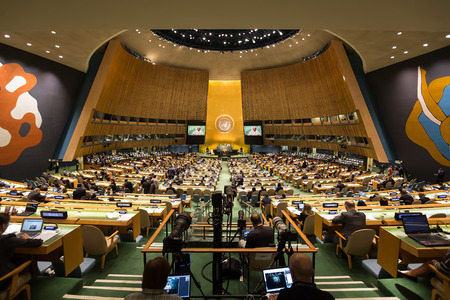 NEW YORK, USA - Sep 21, 2016: General view of the conference room of 71st session of the United Nations General Assembly in New York