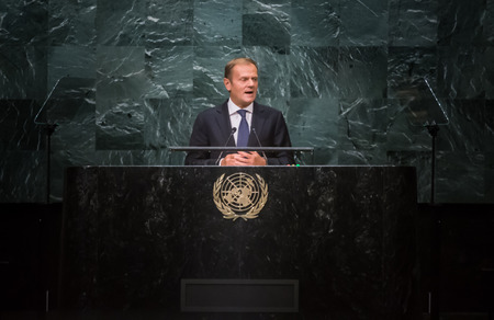 tusk: NEW YORK, USA - Sep 21, 2016: Donald Tusk, President of the European Council, addresses the general debate of the UN General Assemblys seventy-first session