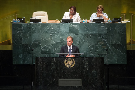 donald: NEW YORK, USA - Sep 21, 2016: Donald Tusk, President of the European Council, addresses the general debate of the UN General Assemblys seventy-first session