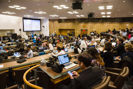 media center: NEW YORK, USA - Sep 21, 2016: Media Center of 71st session of the United Nations General Assembly in New York Editorial