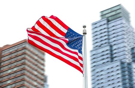 NEW YORK, USA - Apr 29, 2016: View of American flag on blurred building background