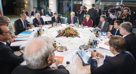 chancellor: BERLIN, GERMANY - Oct 19, 2016: German Chancellor Merkel, Russian President Vladimir Putin, President Ukraine Petro Poroshenko and French President Francois Hollande on the meeting in Normandy format