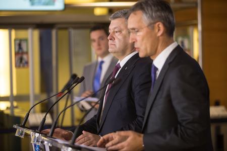 BRUSSELS, BELGIUM - Oct 20, 2016: NATO Secretary General Jens Stoltenberg during a joint briefing with President of Ukraine Petro Poroshenko Editorial