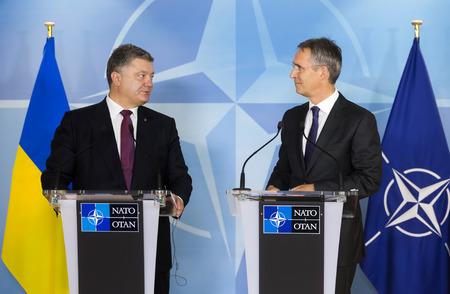 north atlantic treaty organization: BRUSSELS, BELGIUM - Oct 20, 2016: NATO Secretary General Jens Stoltenberg during a joint briefing with President of Ukraine Petro Poroshenko Editorial
