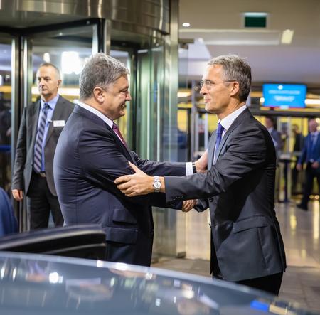 BRUSSELS, BELGIUM - Oct 20, 2016: President of Ukraine Petro Poroshenko during a meeting with NATO Secretary General Jens Stoltenberg in Brussels