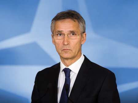 north atlantic treaty organization: BRUSSELS, BELGIUM - Oct 20, 2016: Portrait of NATO Secretary General Jens Stoltenberg during a joint briefing with President of Ukraine Petro Poroshenko Editorial