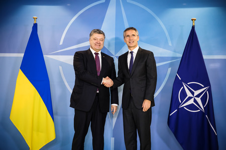 north atlantic treaty organization: BRUSSELS, BELGIUM - Oct 20, 2016: President of Ukraine Petro Poroshenko during a meeting with NATO Secretary General Jens Stoltenberg in Brussels