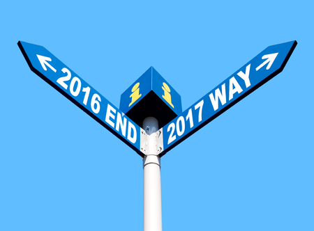 Street post with 2016 end and 2017 way signs