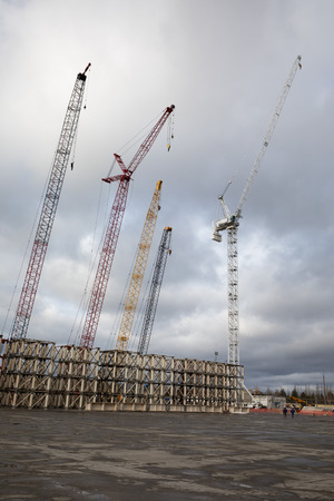 CHERNOBYL, UKRAINE - Nov 28, 2016: Chernobyl nuclear power plant. Cranes at the object Shelter