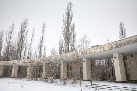 exclusion: CHERNOBYL REG, UKRAINE - Nov 29, 2016: Chernobyl Exclusion Zone. Lost city. Ruins of buildings in the abandoned city of Pripyat. Winter in zone of exclusion. Zone of high radioactivity