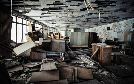 reg: CHERNOBYL REG, UKRAINE - Nov 29, 2016: Chernobyl Exclusion Zone. Lost city. Ruins of buildings in the abandoned city of Pripyat. Winter in zone of exclusion. Zone of high radioactivity