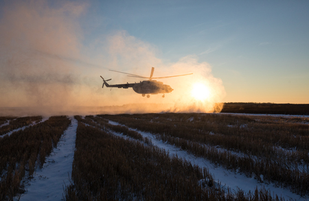 antiterrorist: DONETSK REGION, UKRAINE - Dec 05, 2016: Ukrainian army helicopter Mi-8 (NATO reporting name - Hip) during a combat mission in the area of the antiterrorist operation in the Donetsk region Editorial