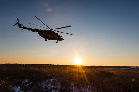 DONETSK REGION, UKRAINE - Dec 05, 2016: Ukrainian army helicopter Mi-8 (NATO reporting name - Hip) during a combat mission in the area of the antiterrorist operation in the Donetsk region Editorial