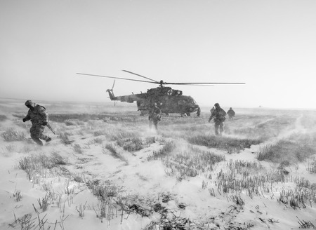 DONETSK REGION, UKRAINE - Dec 05, 2016: Ukrainian army helicopter during a combat mission in the area of the antiterrorist operation in the Donetsk region Editorial