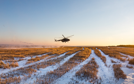 DONETSK REGION, UKRAINE - Dec 05, 2016: Ukrainian army helicopter Mi-8 (NATO reporting name - Hip) during a combat mission in area of antiterrorist operation in Donetsk region Editorial