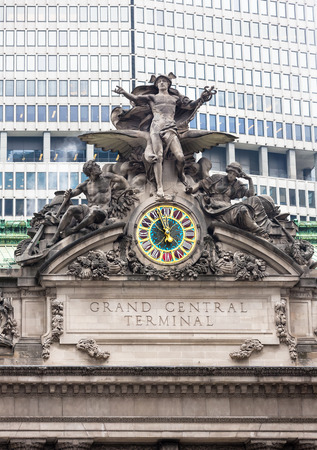 NEW YORK, USA - May 02, 2016: Grand Central Station in New York. Iconic statue of the Greek God Mercury that adorns the south facade of Grand Central Terminal