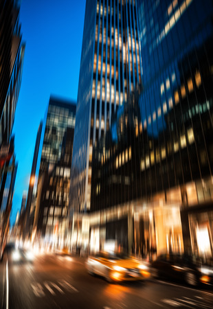 intentional: Abstract image of New York City streets at night. Illumination and night lights of New York City. Intentional motion blur Stock Photo