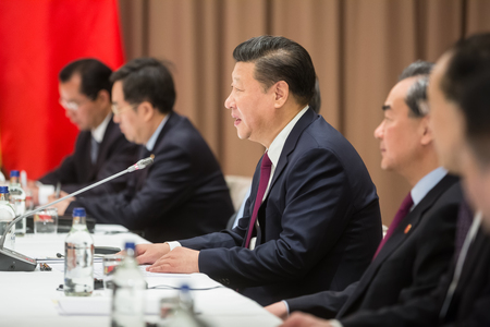 DAVOS, SWITZERLAND - Jan 17, 2017: President of the Peoples Republic of China Xi Jinping during a meeting with Ukrainian President Petro Poroshenko at World Economic Forum Annual Meeting 2017