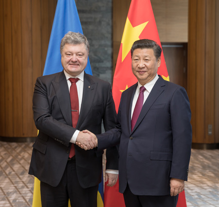DAVOS, SWITZERLAND - Jan 17, 2017: President of Ukraine Petro Poroshenko and President of the Peoples Republic of China Xi Jinping at World Economic Forum Annual Meeting 2017 in Davos, Switzerland