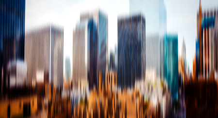 Abstract blurred image of the Manhattan skyscrapers in New York City
