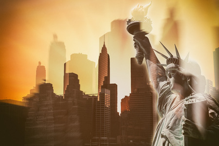intentional: Abstract image of New York City symbols. Skyscrapers of Lower Manhattan and the Statue of Liberty. Multiexposition, blurs and Intentional color shift Stock Photo