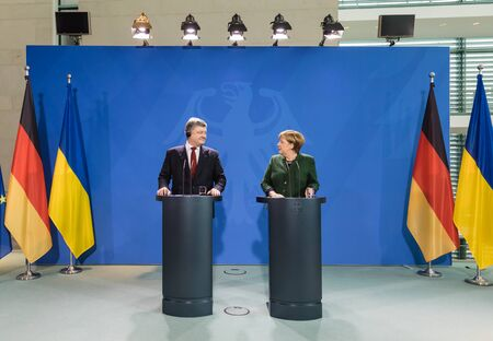 chancellor: BERLIN, GERMANY - Jan 30, 2017: Chancellor of the Federal Republic of Germany Angela Merkel during a joint briefing with President of Ukraine Petro Poroshenko