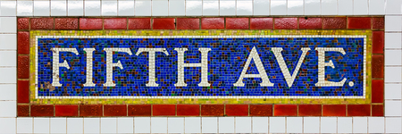 Mosaic Sign at The Fifth Avenue Subway Station in Manhattan Reklamní fotografie
