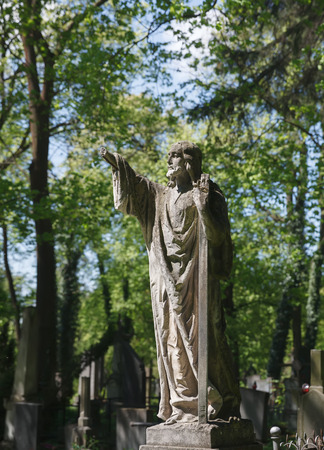 lemberg: LVIV, UKRAINE - Apr 27, 2016: Old statue on grave in the Lychakivskyj cemetery of Lviv, Ukraine. Officially State History and Culture Museum-Preserve - Lychakiv Cemetery