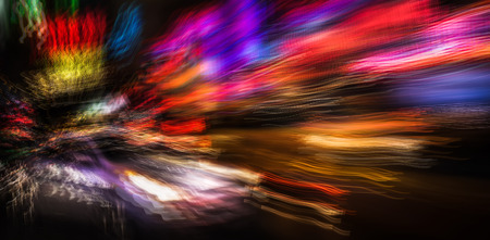 intentional: Abstract image of illumination and night lights of New York City. Intentional motion blur and multiexposition