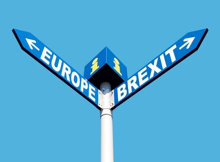 Brexit concept.  European Union and Brexit road signs against blue sky background