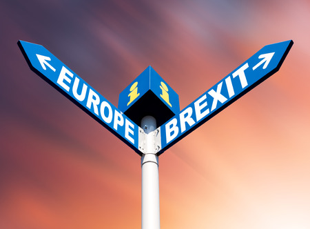 Brexit concept.  European Union and Brexit road signs against blurred background