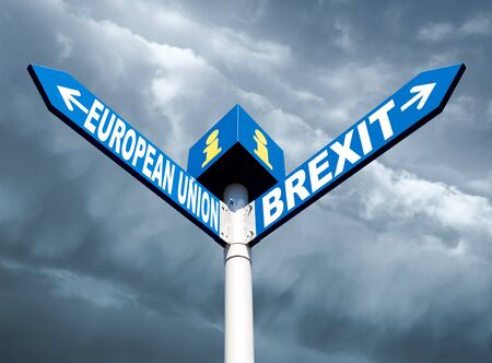 Brexit concept.  European Union and Brexit road signs against dramatic clouds background Stock Photo