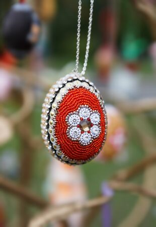 Beautiful easter eggs made of multi-colored beads