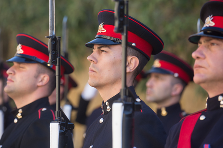 ST. JULIANS - MALTA, 30 March 2017: Warriors of the guard of honor during an official meeting of President of Ukraine Petro Poroshenko and President of the Republic of Malta, Marie Louise Coleiro Preca