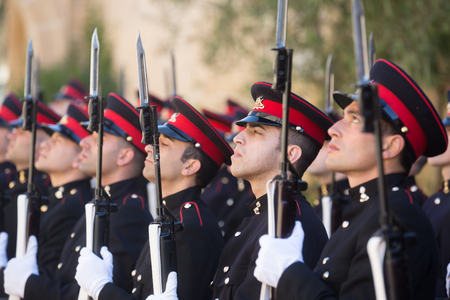 corps: ST. JULIANS - MALTA, 30 March 2017: Warriors of the guard of honor during an official meeting of President of Ukraine Petro Poroshenko and President of the Republic of Malta, Marie Louise Coleiro Preca