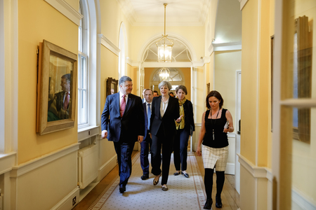 LONDON, UK - Apr 10, 2017: Prime Minister of the United Kingdom Theresa May during an official meeting with the President of Ukraine Petro Poroshenko at 10 Downing Street in London