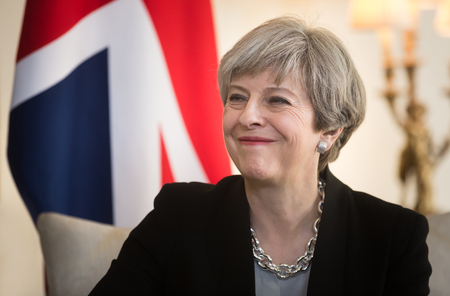 LONDON, UK - Apr 10, 2017: Prime Minister of the United Kingdom Theresa May smiling during an official meeting with the President of Ukraine Petro Poroshenko at 10 Downing Street in London Éditoriale