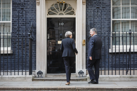 conservative: LONDON, UK - Apr 10, 2017: Prime Minister of the United Kingdom Theresa May during an official meeting with the President of Ukraine Petro Poroshenko at 10 Downing Street in London