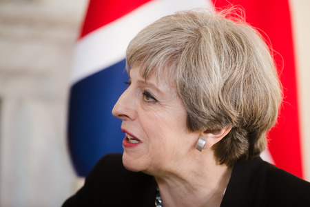 ministry: LONDON, UK - Apr 10, 2017: Prime Minister of the United Kingdom Theresa May during an official meeting with the President of Ukraine Petro Poroshenko at 10 Downing Street in London