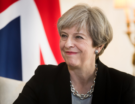 politic: LONDON, UK - Apr 10, 2017: Prime Minister of the United Kingdom Theresa May smiling during an official meeting with the President of Ukraine Petro Poroshenko at 10 Downing Street in London Editorial