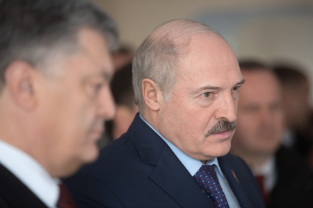 CHERNOBYL, UKRAINE - Apr 26, 2017: President of Ukraine Petro Poroshenko and President of Belarus Alexander Lukashenko take part in events on anniversary of accident on Chornobyl Nuclear Power Plant