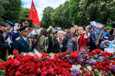 KIEV, UKRAINE - May 09, 2017: The Immortal Regiment march devoted to the 72nd anniversary of the Soviet Union victory over Nazi Germany in World War II took place in Kiev
