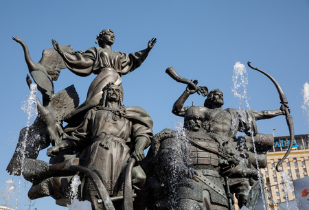 founders: KIEV, UKRAINE - May 04, 2017: Statue of Founders of Kiev at Independence Square. Kyi, Shchek and Khoryv are the three legendary brothers, sometimes mentioned along with their sister Lybid