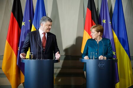 GRANSEE,, GERMANY - May 20, 2017: Chancellor of the Federal Republic of Germany Angela Merkel during a joint briefing with President of Ukraine Petro Poroshenko Editöryel