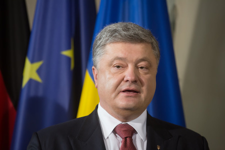 GRANSEE, GERMANY - May 20, 2017: President of Ukraine Petro Poroshenko during a joint briefing with Chancellor of the Federal Republic of Germany Angela Merkel